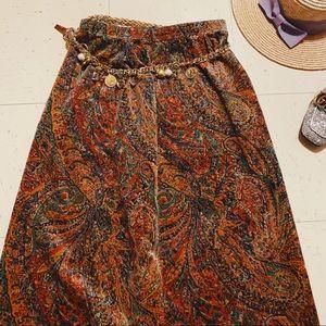 Vtg 70s Velvet Paisley Boho Fall Maxi Skirt S M